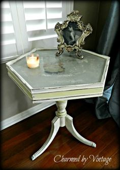 Antique table with transfer image. Painted with ASCP Old White, a mix of country grey and graphite on top and then cream in the middle line. Like · Mar 19, 2013