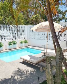 Arrived at in Byron Bay. So in love with the breeze block bricks and pool. 🙌🏼 Has got a cool Palm Springs vibe going on. Small Backyard Pools, Backyard Pool Designs, Small Pools, Backyard Landscaping, Tropical Backyard, Palm Springs Häuser, Palm Springs Style, Pool Furniture, Cheap Furniture
