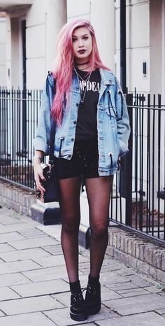 Printed shirt, denim jacket, lace-up shorts, tights & creepers shoes by amyvalentinex - #grunge #alternative #fashion