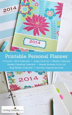 Beautiful DIY Printable Personal Planner with 2014 Calendar and organizational sheets. LivingLocurto.com