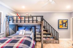Barnwood bunkbed and staircase with storage drawers and nooks.   Photo: @jessefitton   #porterbarnwood #interiordesign #interior #interiors #custom #bunkbed #reclaimedwood #reclaimed #barnwood #woodworking #wood #design #designer #home #bed #homedecor