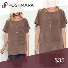 Gorgeous contrast ribbed sweater in medium brown! Love this look! Hi lo contrast ribbed sweater tunic in medium brown😊😊- ships Monday! Sweaters