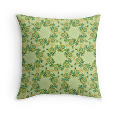 """Fractal pattern ""olive tone"""" Throw Pillows by floraaplus 