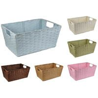 Rectangular Paper Fiber Storage Baskets In-Handle - Medium Lucky Clover Trading is a wholesale baskets distributor and importer of baskets wholesale through a wholesale gift basket suppplies company. Baskets For Shelves, Cheap Baskets, Storage Baskets, Library Shelves, Bookshelves, Front Closet, Storage Organization, Closet Storage, Organizing