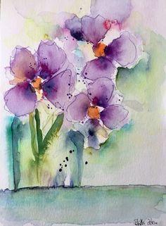 ORIGINAL AQUARELL Aquarellmalerei Bild Kunst Blumenstrauß lila Blumen Watercolor   eBay #watercolorarts