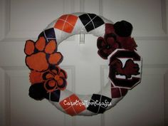 Clemson/Carolina House Divided Wreath by CarolinaMoonCrafts