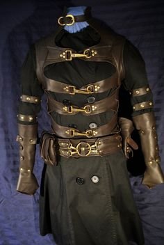 Cool vest idea, although it's kind of corset-looking. Men's Steampunk Leather Costume by Ragged Edge Leatherworks at CustomMade.com