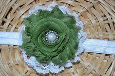 Green and White St. Patricks Day Headband, vintage lace headband, baby girl headband, shabby chic, infant toddler headband, lace headband, on Etsy, $6.75