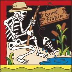 6x6 Tile Day of the Dead Gone Fishin by Hand-N-Hand Designs. $18.95. Individually screen printed on authentic Italian Red Quarry Tile. Unique hand drawn design exclusive to Hand-N-Hand Designs. Fired at over 1800 degrees to create a durable and lasting piece of art. Each tile is hand glazed by a skilled artist in the USA. This 6x6 decorative art tile is hand painted and hard fired at over 1800 degrees making it ready for years of use indoors or outdoors. Use this tile as a ...