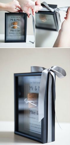 Frame your first champagne/wine cork as Mr & Mrs