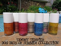 Relaxing by the pool!  The @Tawdry Terrier Dog Days of Summer collection is now available at http://www.etsy.com/shop/TawdryTerrier.  Remember to enter our #giveaway for the chance to win 6 polishes! Enter at http://tawdryterrier.blogspot.com/2013/08/giveaway.html. #nailpolish #indienailpolish #indienailpolishgiveaway #nailpolishgiveaway