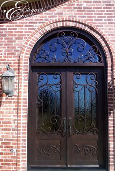 Custom wrought iron door with attached full arch transom. Front Door Porch, Front Doors, Entry Doors, Entryway, Wrought Iron Doors, Formal Gardens, Spanish Style, Double Doors, Door Design