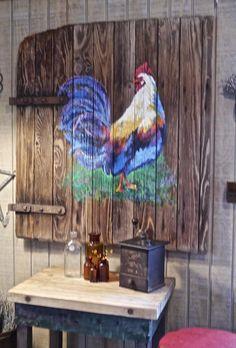 Rooster Painting on Barn Door