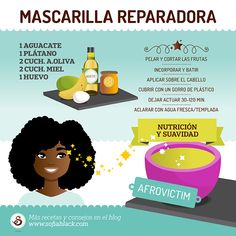 Mascarilla reparadora para cabello dañado by Afro Victim (DIY) Mascarilla reparadora para cabello dañado Curly Hair Tips, Wavy Hair, Curly Hair Styles, Hair Frizz, Frizzy Hair, Grow Long Hair, Grow Hair, Natural Hair Care, Natural Hair Styles