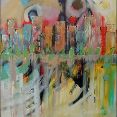 36x36  Windy City. Joan Curtis artist