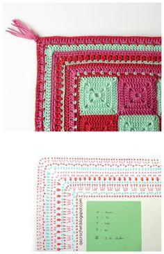 crochet placemat with border; crochet edging chart; free pattern #qscrochet