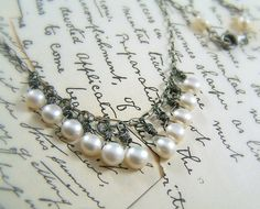 Necklace - Sterling Silver & Freshwater Pearls - Handmade - June Bride