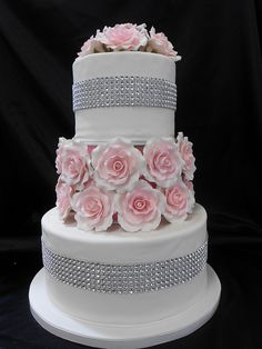 gâteau avec roses et diamants / Rose and Diamond Cake