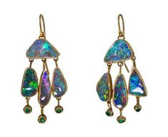 Judy Geib | Adorable Blue-Green Triple Drop Opal Earrings with Emerald in Designers Judy Geib One-of-a-Kind at TWISTonline