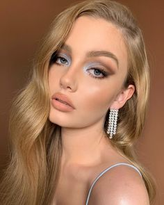 Glam Makeup Look, Makeup Eye Looks, Creative Makeup Looks, Blue Eye Makeup, Gorgeous Makeup, Pretty Makeup, Beauty Makeup, Hair Makeup, Fancy Makeup