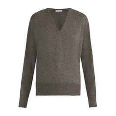 Tomas Maier V-neck cashmere sweater (€590) ❤ liked on Polyvore featuring tops, sweaters, mid grey, v neck sweater, wool cashmere sweater, grey sweater, gray top and tomas maier