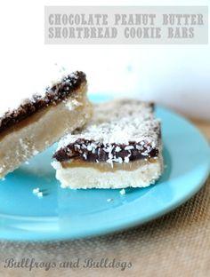 Chocolate Peanut Butter Shortbread Cookie Bars
