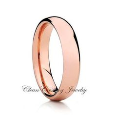 Rose Gold Dome Tungsten Ring 5mm Tungsten Comfort Fit