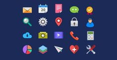 PSD Freebie: 20 colorful flat icons PSD