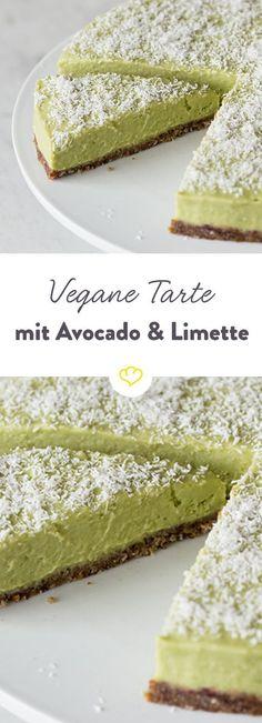 Avocado-Limetten-Tarte Vegan Cake vegan cake for one Paleo Dessert, Avocado Dessert, Coconut Dessert, Dessert Recipes, Avocado Cheesecake, Avocado Food, Avocado Cake, Avocado Superfood, Avocado Brownies
