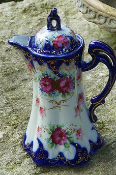 Antique Noritake Nippon Porcelain Chocolate Tea Pot Pitcher Filigree Cobalt Blue | eBay