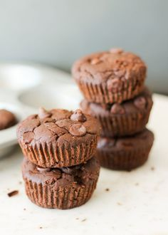 Protein and fiber packed flourless black bean brownie muffins! Taste like a cakey-delicious brownie except without all the guilt.