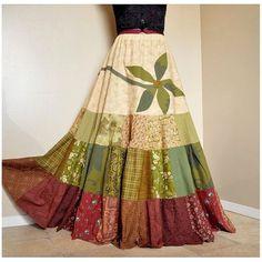 Equinox Garden - Long Hippie Patchwork skirt, Tiered Bohemian Gypsy Skirt, Leaf Flower Applique, Best for sizes - Medium, Large, XL, Tall - Equinox Garden  Long Hippie Patchwork skirt by BarefootModiste