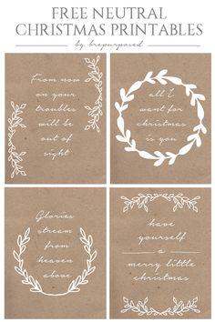 Four FREE Neutral Christmas Printables from brepurposed :: www.brepurposed.com