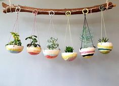 Rainbow Candy Collection hanging planter hanging plant pot succulent pots pinch pots colourful designs home studio pottery Hanging Succulents, Succulent Pots, Hanging Planters, Succulents Garden, Rainbow Succulent, Diy Planters, Planter Pots, Coconut Shell Crafts, Diy Inspiration