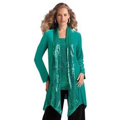 Roamans Plus Size Sequined Velour Duster #Glimpse_by_TheFind