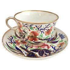 Antique English Royal Crown Derby cup and saucer, 1806-1825