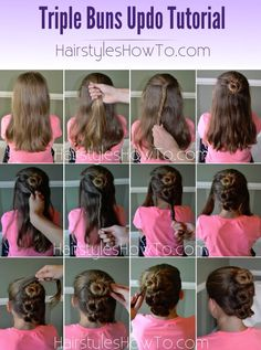Triple Buns Updo Tutorial - Perfect look for wedding or flower girl hairstyle Triple Buns Updo Tutorial - Perfect look for wedding or flower girl hairstyle Flower Girl Hairstyles, Summer Hairstyles, Braided Hairstyles, Cool Hairstyles, Active Hairstyles, Braided Updo, Medium Hair Styles, Long Hair Styles, Ponytail Tutorial