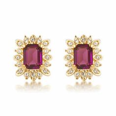 Fuchsia Crystal Gold Cocktail Evening Fashion Jewelry Stud Earrings SKU-10803356