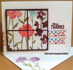 Thank you card using Stampin' Up's beautiful Painted Blooms DSP