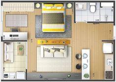Planos de casas modernas de 1 dormitorio Micro Apartment, Small Apartment Design, Apartment Layout, Small Apartments, Studio Floor Plans, House Floor Plans, Modern House Plans, Small House Plans, Small Space Living