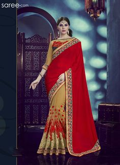 RED AND BEIGE CHINON SAREE WITH EMBROIDERY WORK