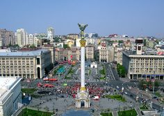 Kiev, Ukraine's Independence Square ~ you can see our hotel across the square to the right of the monument.  It was a great location!