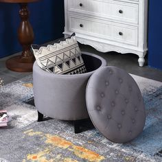 Elegant Fabric Tufted Button Ottoman Round Footstool Coffee Table, Gray / Beige