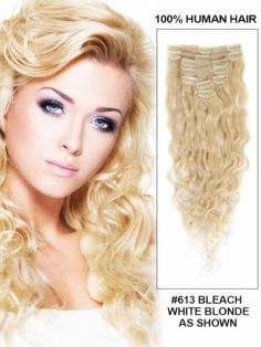 "18"" 7 Piece French Wave Clip In Human Hair Extension - Bleach White Blonde("