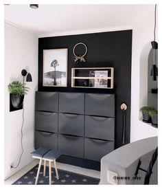 - I heard small rooms? couchstyle small rooms cabinet Hall -I heard small rooms? - I heard small rooms? couchstyle small rooms cabinet Hall - NORDLI chest Top First Apartment Decorat. Small Rooms, Small Spaces, Entrada Ikea, Couch Magazin, Shoe Cabinet, Black Cabinet, Shoe Cupboard, Black Walls, Entrance Hall