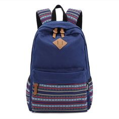Yonger Retro Vintage Canvas Backpack Satchel Travel Hiking Bag School Bookbag Blue * Details can be found by clicking on the image. (This is an Amazon Affiliate link and I receive a commission for the sales)