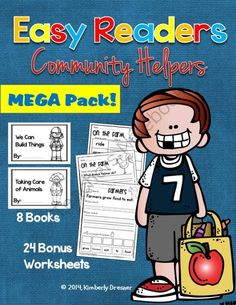 Easy/Emergent Readers! Community Helpers MEGA Pack. 8 Readers + 24 Worksheets from Kimberly's Kindergarten on TeachersNotebook.com -  (91 pages)  - This MEGA pack of emergent readers contains 8 Community Helper readers + 24 related worksheets (sight words, sentence scrambles & comprehension questions). Easy print, great for guided reading.