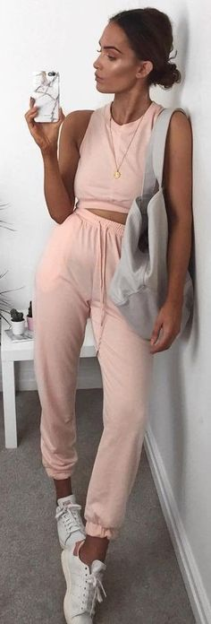 #summer #popular #outfits | Peachy Summer Tracksuit + Pop Of Grey
