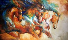 """WILD TRIO RUN MUSTANGS"" by Marcia Baldwin, Shreveport, Louisiana // From my WILD HORSE SERIES 2013 ~ the original oil painting is in a private collection and has been SOLD. Please enjoy fine prints on paper or canvas here on Imagekind. // Imagekind.com -- Buy stunning fine art prints, framed prints and canvas prints directly from independent working artists and photographers."