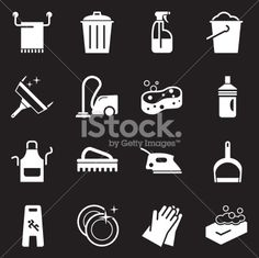 Vector File of Cleaning Icons   White Series related vector icons for your design or application. Raw style. Files included: vector EPS, JPG, PNG. See more in this series.